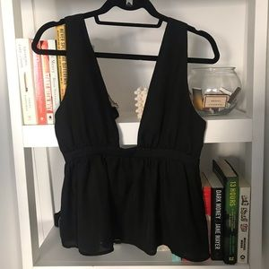 Black plunge baby doll top